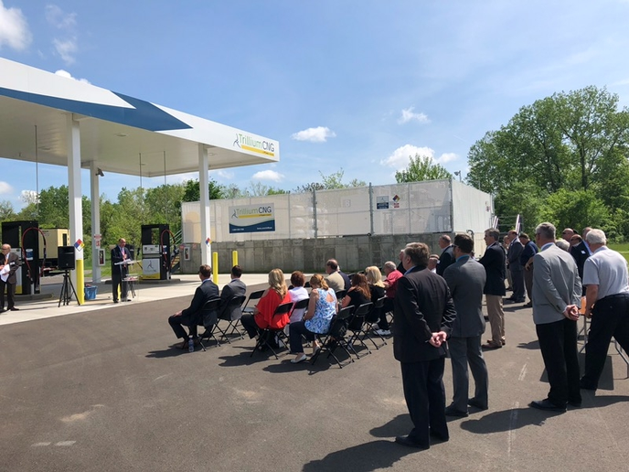 David Richards, general manager for NCTA, addresses the crowd as Trillium, NCTA and PennDOT celebrate the opening of NCTA's new public compressed natural gas station in New Castle, Pennsylvania.