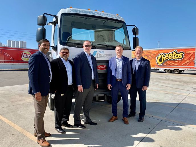 (l-r) Mitesh Naik, director of medium-duty sales (Peterbilt); Keshav Sondhi, director – fleet engineering and sustainability (PepsiCo, Inc.); Michael O'Connell, vice president of supply chain (PepsiCo, Inc.); Jason Skoog, general manager (Peterbilt); and Andy Weiblen, director of product planning (Peterbilt).