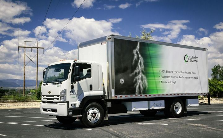 State agencies, universities, municipalities, and counties in California can order Class 3 to 6 shuttle buses, cargo vans, box trucks, cab-over vehicles, and stripped chassis models, including Chevrolet's 6500XD Low Cab Forward Truck and various models from Ford, under a new State of California clean-fleet initiative. - Photo: Lightning Systems