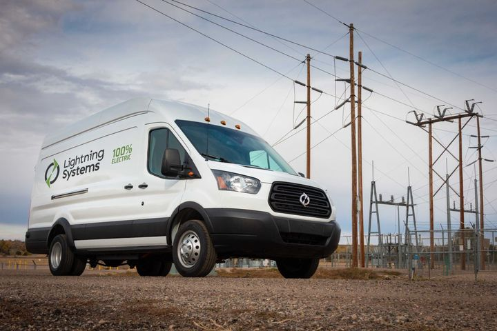 Lightning Systems, a developer of zero-emission drivetrains for commercial fleets, announced the introduction of a longer-range, higher-speed Generation 2 model of its Lightning Electric system for the Ford Transit. - Photo: Lightning Systems