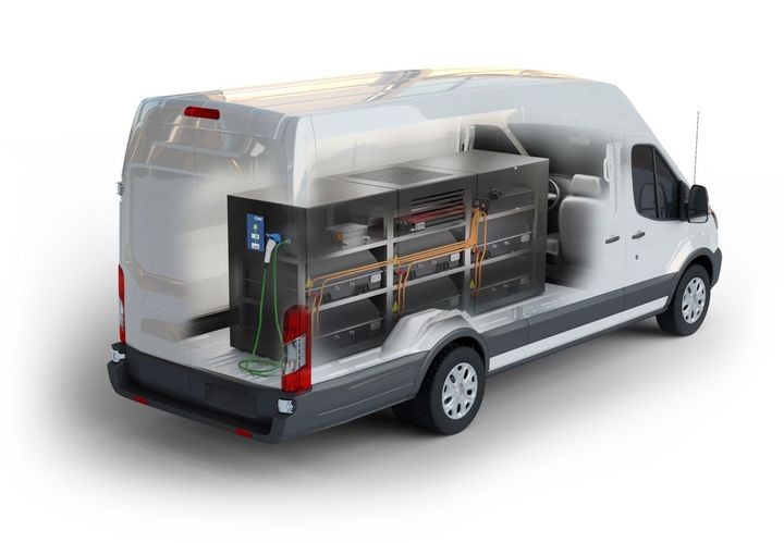 Lightning Systems designed the system to be installed in its Lightning Electric Transit 350HD cargo van, but the system also can be installed in vehicles or trailers. - Photo: Lightning Systems