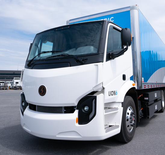 The Lion6 (pictured) and Lion8 trucks have ranges of 180 and 165 miles respectively, and will be used for regional shipping operations. - Photo: Lion Electric