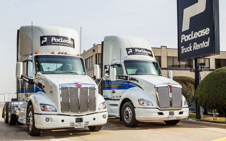 PacLease can help fleets obtain medium-duty and Class 8 trucks including the Peterbilt 579 (left) and Kenwowrth T680.