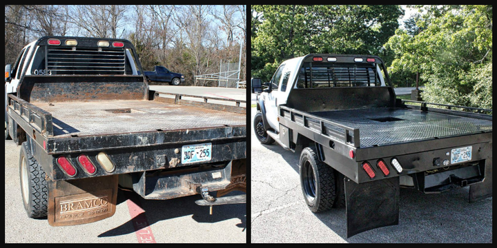 The photo shows a truck before remanufacturing (left) and after (right). Remanufacturing gives a truck a new lease on life. 