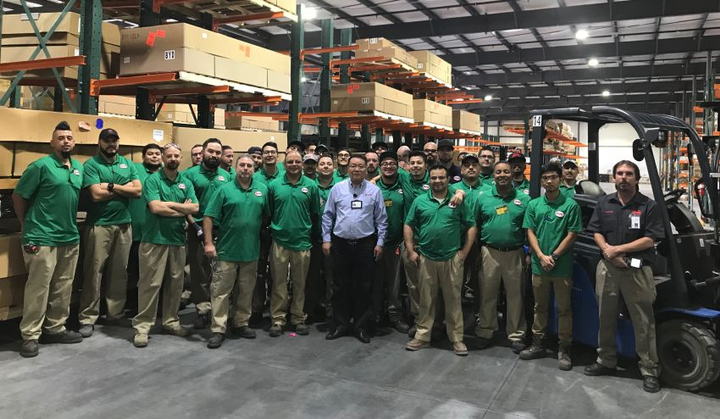 The new warehouse provides additional space and ability to further streamline the handling of materials and supplies and frees up space on BYD's adjacent 450,000-square-foot manufacturing plant floor.  - Photo courtesy of BYD