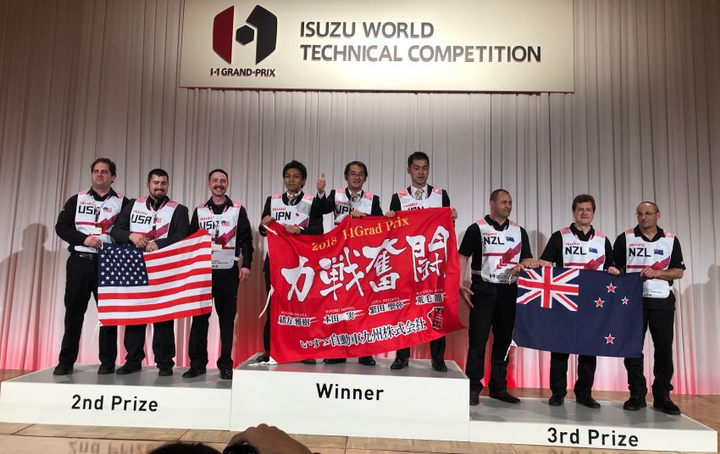 Placing second in this year's Isuzu One Grand Prix World Technician Competition, the U.S. team of service technicians competed in a tough, two-day event.  - Photo courtesy of Isuzu Commercial Truck of America, Inc.