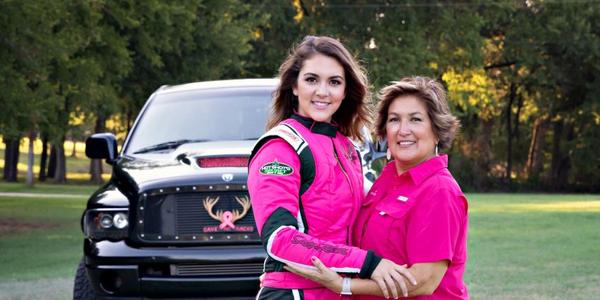 Last year, Amalee Mueller (left) branded her Dodge Cummins Super Diesel race truck in a pink...