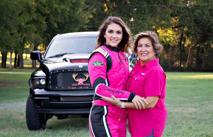Last year, Amalee Mueller (left) branded her Dodge Cummins Super Diesel race truck in a pink Save the Racks motif to support her mother (right) who has successfully battled breast cancer