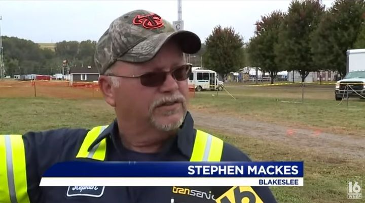 Stephen Mackes helped the pilot and two passengers get out safely by breaking the glass and aiding them in exiting the craft. - Scren Capture: WNEP 16