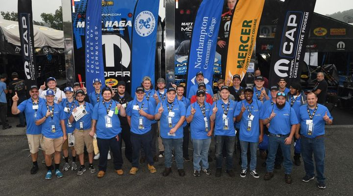 Mopar Career Automotive Program (CAP), through a partnership with Pennzoil, hosted 45 students from five area schools at the Mopar Express Lane NHRA Nationals at Maple Grove Raceway near Reading, Pennsylvania on Sept. 13, 2019. The students visited with Dodge//SRT Mopar Funny Car driver Matt Hagan, toured the Don Schumacher Racing pit areas and networked with representatives from 15 area FCA US dealerships.