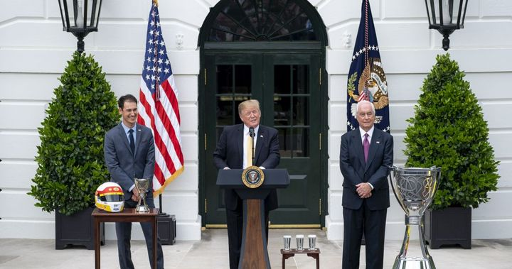 This won't be the first time Roger S. Penske (right)has been on stage with the President (center). In April 2019 Penske was honored as the team owner of the winning 2018 Nascar Cup champion Joey Logano (left).  - Photo: White House