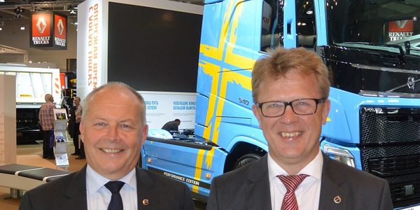 Volvo Trucks has named Roger Alm (right) as its new president, replacing Claes Nilsson (left),...