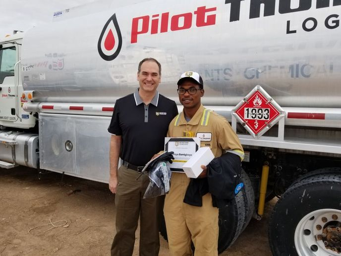 The 11 millionth lesson has been completed by Kalayo Bamigboye, a Frac Technician with Pilot Thomas Logistics in Odessa, Texas. To celebrate the milestone event, ITI COO Nathan Stahlman presented Bamigboye with several prizes.
