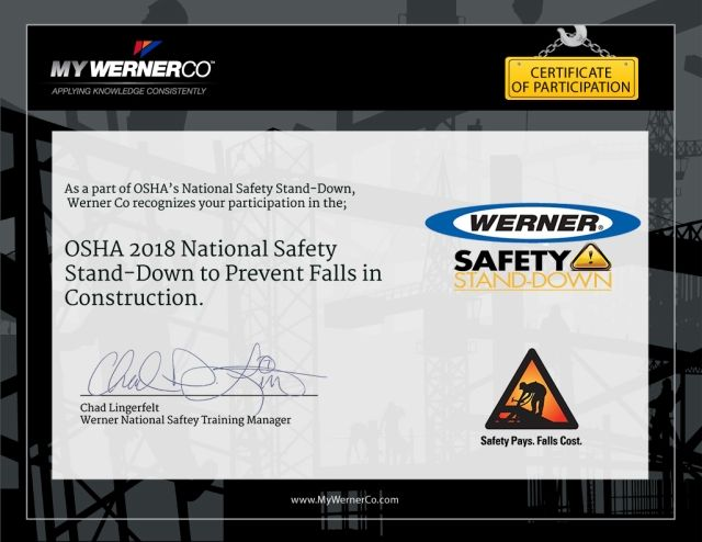 Once the training has been completed, professionals are able to download their OSHA Safety Stand Down Certificate of Participation, which can be shared with their safety director. Image courtesy of Werner
