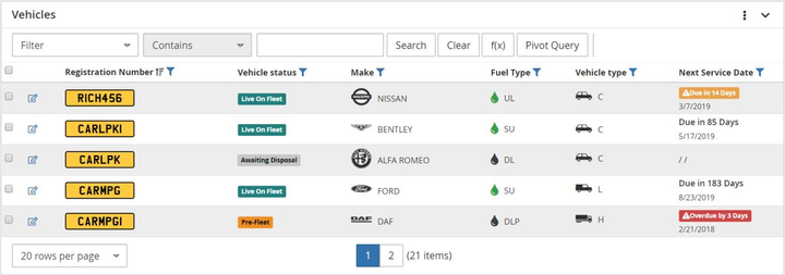 Icons will help users easily identify properties such as fuel types, vehicle types, and visual alerts for services reminders that change colour based on urgency.