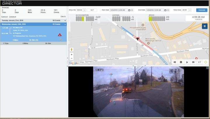 The Teletrac Navman DIRECTOR Event Viewer feature, paired with dashboard camera footage, can be used for a full view of unsafe driving events to coach drivers on driving behavior or acquit the driver of being at fault. Image courtesy of Teletrac Navman