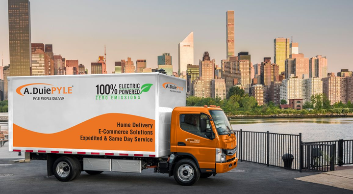 With a modular HV battery pack and permanent synchronous e-motor, the eCanter delivers an output of 185 kW.  - Photo courtesy of Mitsubishi Fuso