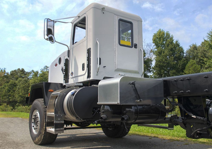 The narrow cab option provides a unique method for hauling utility poles and steel to off-road sites.