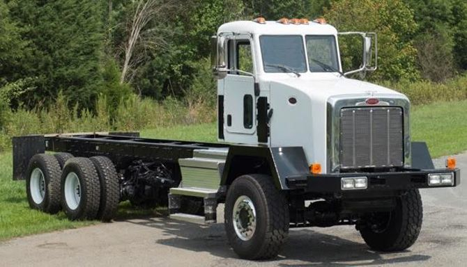 Fontaine narrowed the cab of a Peterbilt 365 6x6 truck by 18.5 inches. 