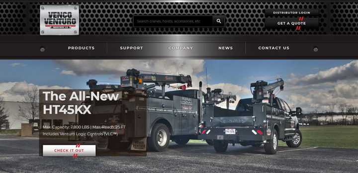 The newly redesigned website offers quick and easy access to essential product specifications, troubleshooting, support, and more.  - Screen Capture courtesy of Venco Venturo