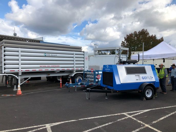 NW Natural is testing a mobile natural gas compressor. - Photo courtesy of Onboard Dynamics
