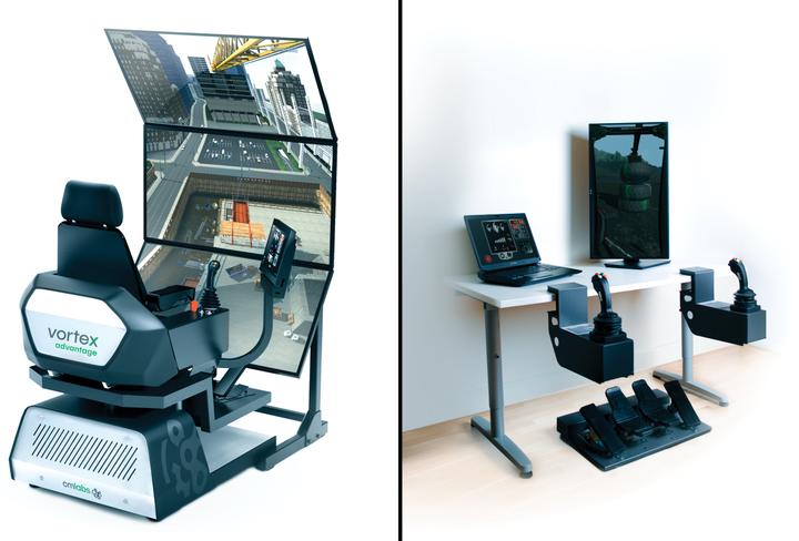 The Vortex Advantage and Vortex Edge Plus simulators allow operators to train on a wide range of equipment.  - Photo courtesy of CM Labs