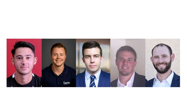 New additions to Genie's sales team include (l-r) Nate Alonzo, Jon Cotts, Max Izotov, Matt...