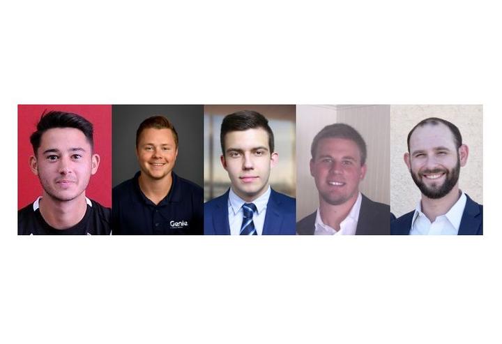 New additions to Genie's sales team include (l-r) Nate Alonzo, Jon Cotts, Max Izotov, Matt Fitzsimmons, and Connor Dugan.  - Photos courtesy of Genie