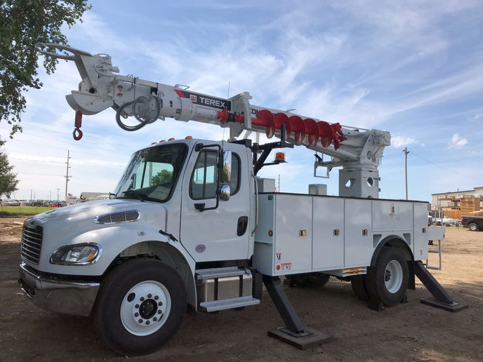Terex is celebrating 75 years of its digger derrick product line, including the Commander Series (pictured).  - Photo courtesy of Terex Utilities
