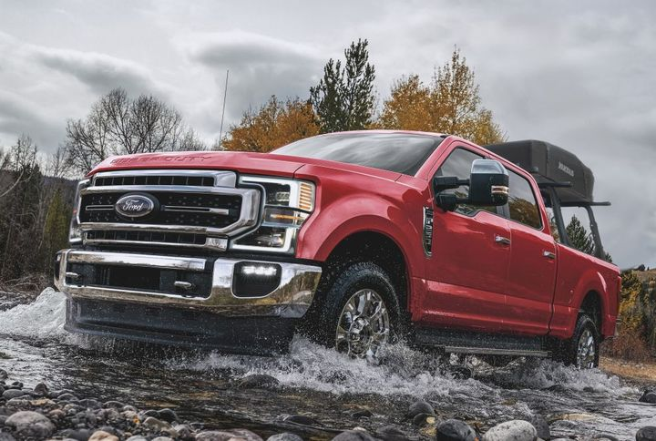 The 2021-MY Super Duty was recalled for a condition that may result in the tire and wheel assembly detaching from the front axle, increasing the risk of a crash. - Photo: Ford Motor Co.