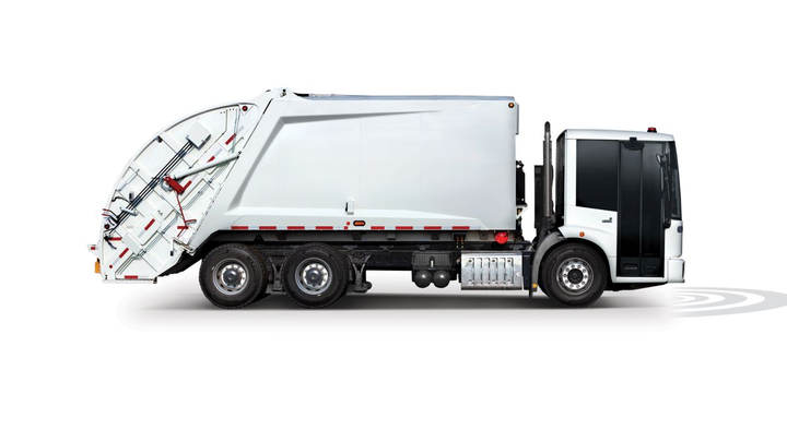 The new Freightliner EconicSD is currently the only cab-over-engine refuse truck in North America that features a collision mitigation system.