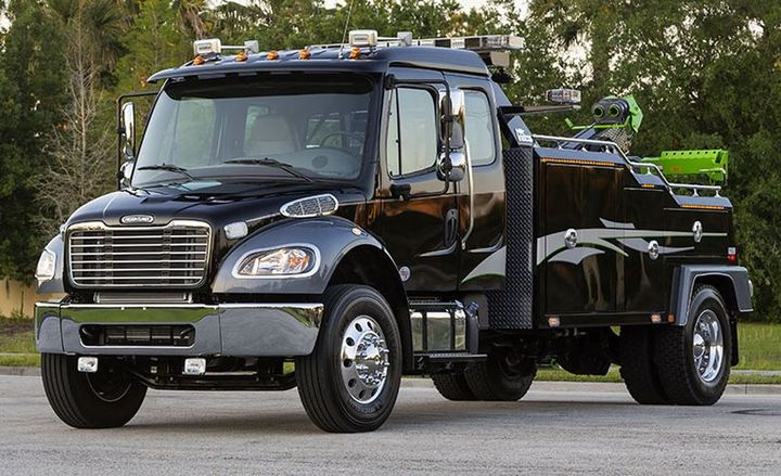 Daimler Trucks N.A. is recalling more than 9,000 of its Freightliner M2 medium-duty truks for a steering defect.  - Photo courtesy of Freightliner.