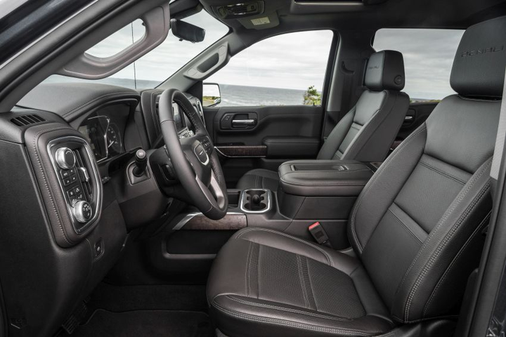The GMC Sierra Denali's roomier cabin is trimmed with Denali-exclusive materials, including premium Forge leather-appointed seating, authentic open-pore wood trim and dark-finish aluminum decor.