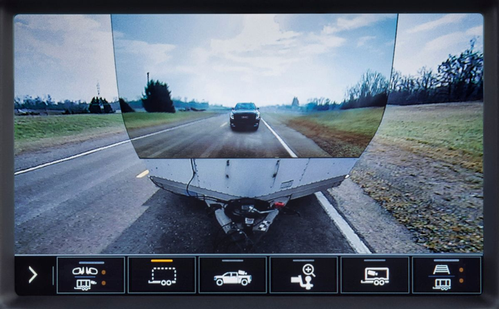 The ProGrade Trailering System now features a 15 available unique camera views, including a transparent trailer view to help optimize the driver's view around the truck and compatible trailers.