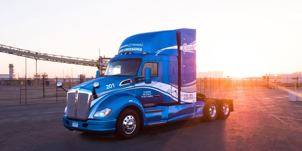 The Kenworth T680s with the Toyota hydrogen fuel cell electric powertrains combine hydrogen gas...