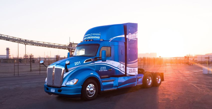 The Kenworth T680s with the Toyota hydrogen fuel cell electric powertrains combine hydrogen gas and air to produce electricity. The electricity powers electric motors to move the trucks, while also charging the lithium-ion batteries to optimize performance as needed.  - Photo courtesy of Toyota
