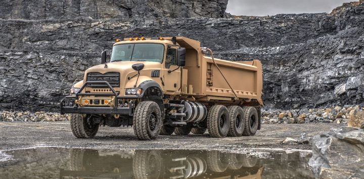Mack Defense is partnering with Crysteel Manufacturing on the U.S. Army M917A3 Heavy Dump Truck (HDT) contract to provide specialized dump bodies.  - Photo: Mack Defense