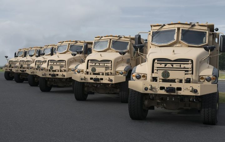 Mack Defense has delivered six armored Mack Granite-based M917A3 Heavy Dump Trucks (HDT) to the U.S. Army for the Production Vehicle Testing (PVT) phase of its fixed-firm-price $296 million contract. The trucks will now enter 40 weeks of durability testing at the U.S. Army's Aberdeen Test Center. - Photo: Mack Defense