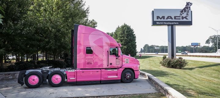 The Mack Anthem model is displayed at Mack's world headquarters. 