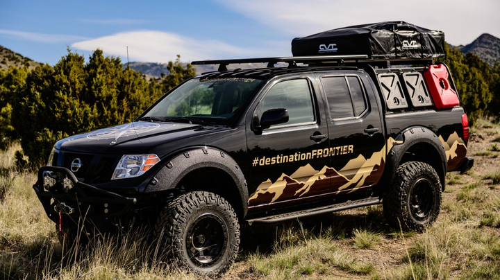 Key modifications to the Destination Frontier include a 3-inch lift kit, rooftop tent, light bars, bed racks and a winch.