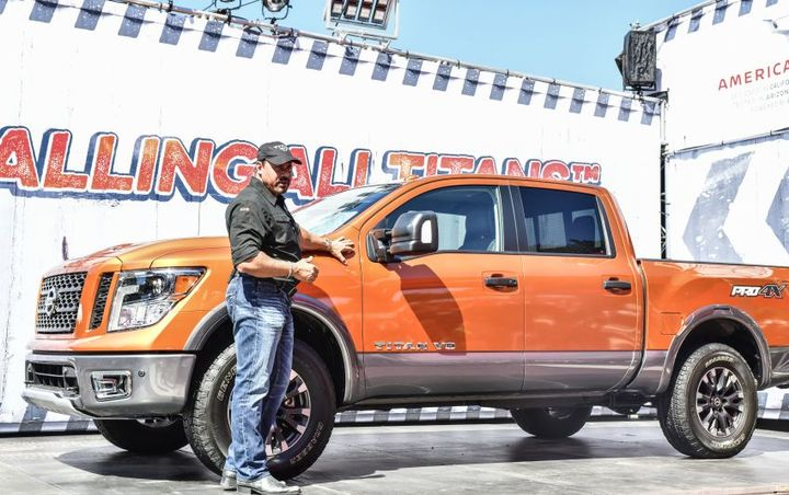 Following a rockin' performance from Fender artist Eric Johnson, the new 2019 Nissan Titan pickup was introduced by Fred DePerez, vice president, North American LCV Business Unit, Nissan North America.  - Photo courtesy of Nissan
