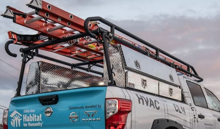 Atop the Ultimate Work Titan sits a TrailFX aluminum ladder rack featuring multiple commercial grade ladders  - Photo courtesy of Nissan