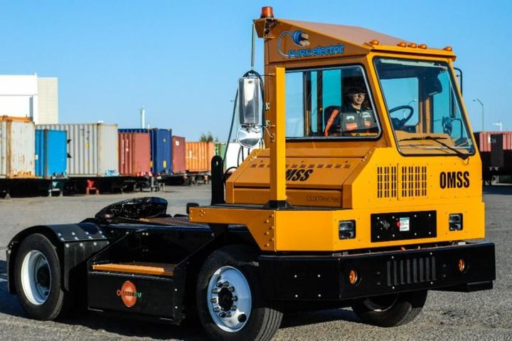 OMSS uses terminal trucks to move and pre-stage containers for truckers utilizing OMSS facilities.  - Photo courtesy of Orange EV