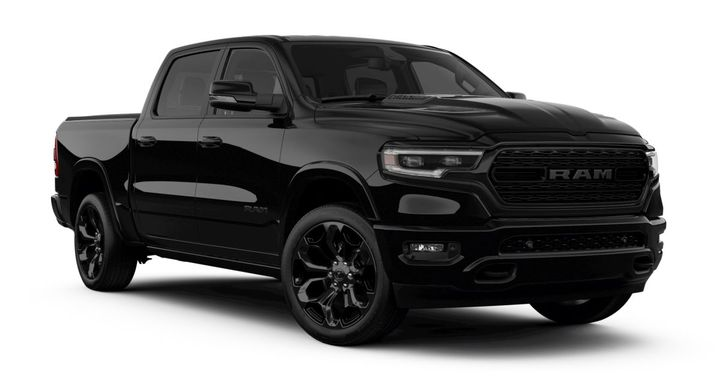 The 2020 Ram 1500 Limited Black Edition features black accents, including a grille with R-A-M letters.