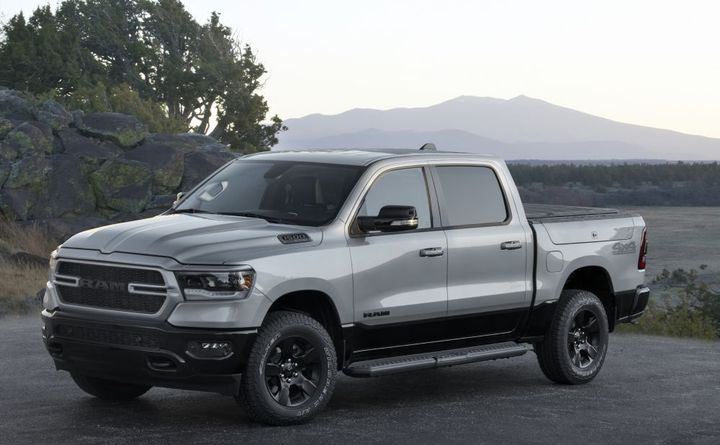 The 2022 Ram 1500 BackCountry Edition features 18-inch black wheels, black tu-tone exterior paint, black badging, exhaust tips, headlamp bezels, mirrors, and running boards. - Photo: Ram Trucks