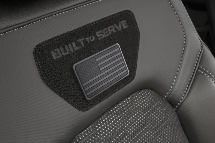 These new Ram models are also ready to display their owner's military pride with Built to Serve-embroidered Velcro panels on each front seat.
