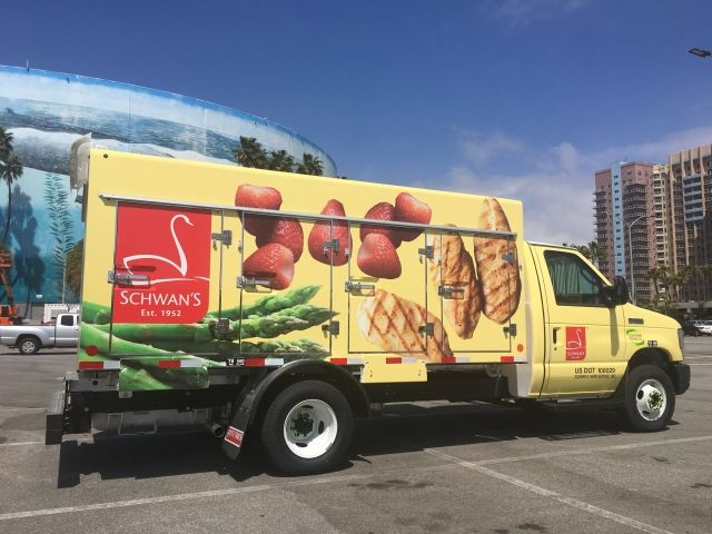 Schwan's unveiled its newest propane-autogas Ford E-450 at the ACT Expo in Long Beach, Calif. (Photo courtesy of Roush CleanTech)