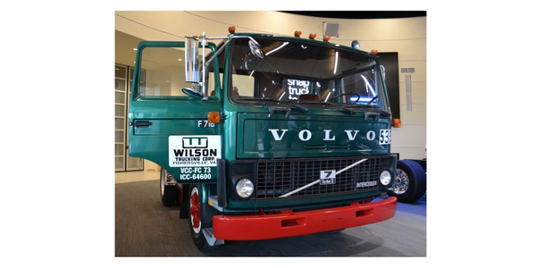 A 1982 Volvo F7, the first Volvo truck built at Volvo's New River Valley assembly facility, will...