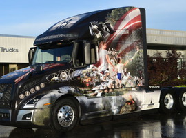 Volvo Trucks' New River Valley assembly plant in Dublin, Virginia unveiled its 2019 Ride for Freedom truck featuring custom-designed graphics that honor the U.S. military.