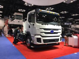 BYD displayed its Class 8 long-range battery-electric truck, the BYD 8TT. The day cab truck has...